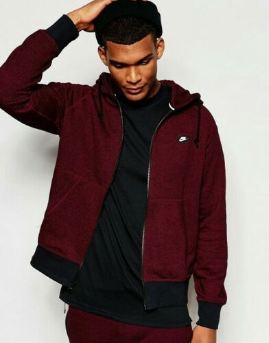 Hommes Nike AW77 French Terry Shoebox Full-Zip-Team Rouge//Noir//Heather 905313 677