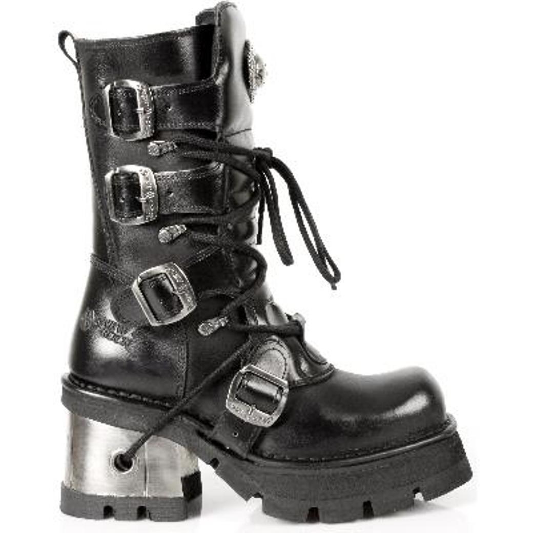 New Rock Stiefel Damenschuhe Punk Gothic Stiefel Schwarz - Style 373 S33 Schwarz Stiefel - Damen 2732a9