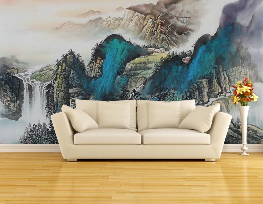 3D Blaue Berg Malerei 7 Tapete Wandgemälde Tapete Tapeten Bild Familie DE Summer