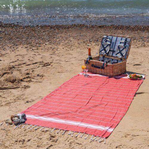 Turkish Cotton Towel Beach Bath Gym Hammam Peshtemal Fouta Throw Red x2