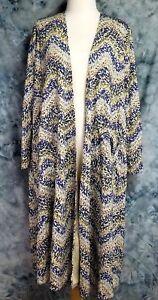 LuLaRoe-Sarah-Womens-sz-M-Ivory-Blue-Red-Chevron-Duster-Sweater-Layering-Top