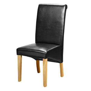 Black-Faux-Leather-PU-Dining-Chairs-Roll-Top-Scroll-Back-Oak-Wood-Leg-Hotel-Cafe