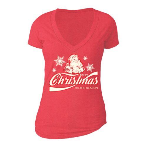 Tis The Season Santa UGLY CHRISTMAS Shirt Party Women Vneck T-shirt Red