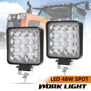 Spot-CREE-LED-Work-Light-Off-road-Square-Lamp-For-Truck-4WD-ATV-4X4-2PCS