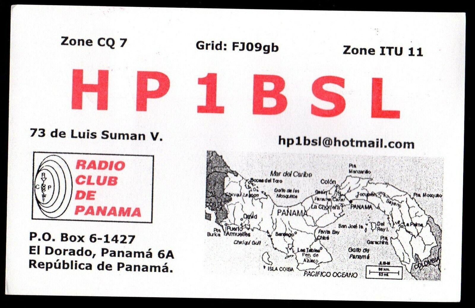 QSL QSO RADIO CARD Map of Panama,Luis Suman V.,HP1BSL, (Q3051)