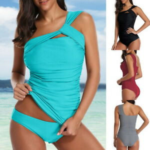 Women-One-Shoulder-Swimsuit-2-Pieces-Ruched-Tankini-Tummy-Control-Bikini-Set-NEW