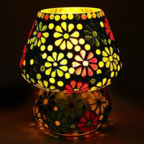 Colourful Flowers Desgin Mosaic Table Glass Lamp Desk Lamps Night Light