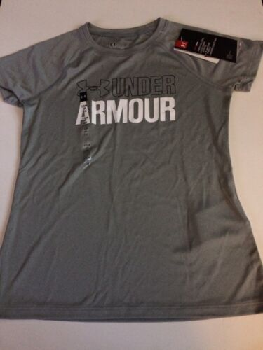 """Girls Under Armour Girls Gray /""""Under Armour/"""" Tee Size Small"""