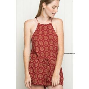 d8ad514550c Rare! brandy melville red boho high neck alexandera romper playsuit ...