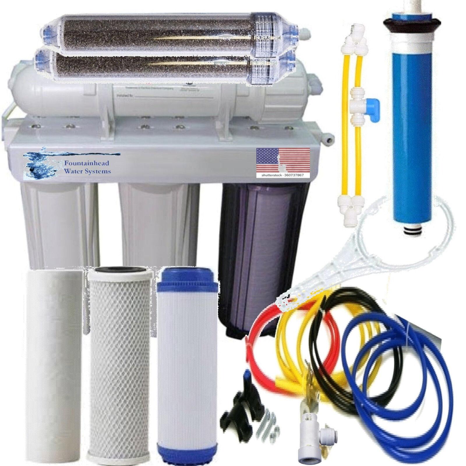 Aquarium Reef Reverse Osmosis & Deionization System w Manual Flush 75 GPD.