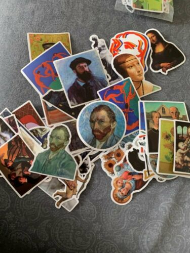 50Pcs//Lot Famous Artists Oil Painting JDM Stickers Waterproof PVC Skateboard Lap