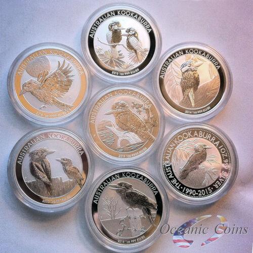 2013-2019 Australian Kookaburra 1 oz Silver-Collector Set-In Mint Capsules