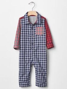 Baby Gap NWT Multi-Color PLAID LINED POLO COLLAR LONG ROMPER OUTFIT 3 6 Months