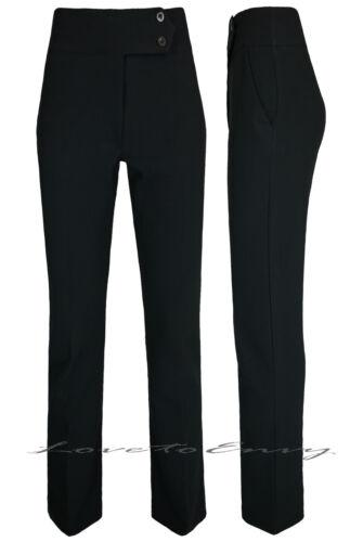 Mesdames filles noir école travail pantalon taille haute qualité pantalon jambe droite.