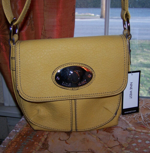 9 nine west Cornbread mustard Yellow Leather like TAD Handbag SwingPack NWT