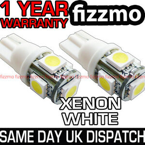 2x 501 T10 W5W CAPLESS WEDGE 5 SMD LED HID 6000K WHITE SIDE LIGHT BULBS