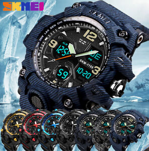 SKMEI-Army-Military-Waterproof-Sport-Men-039-s-LED-Quartz-Analog-Digital-Wrist-Watch