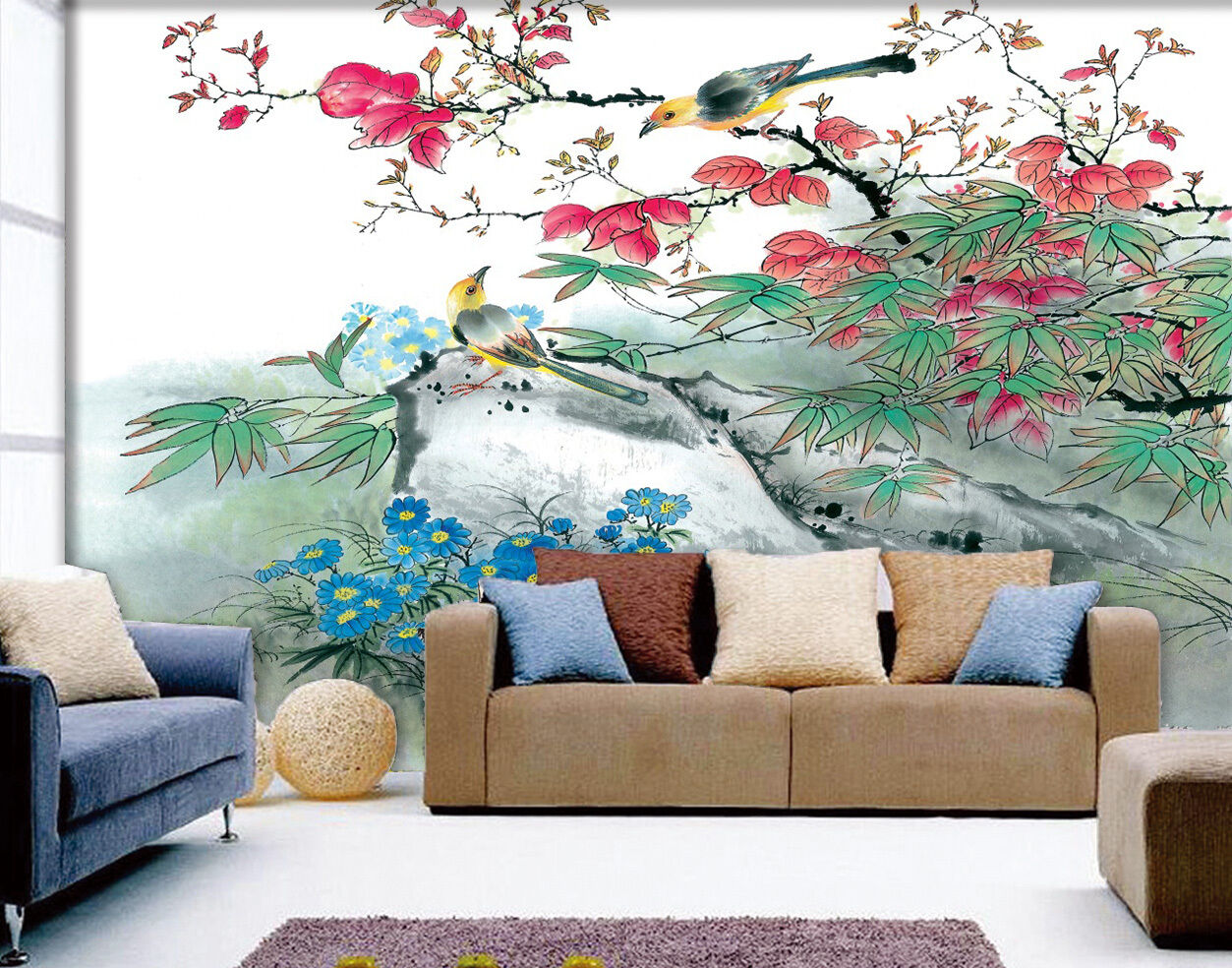 3D Birds And Flowers 101 Wallpaper Decal Dercor Home Kids Nursery Mural  Home