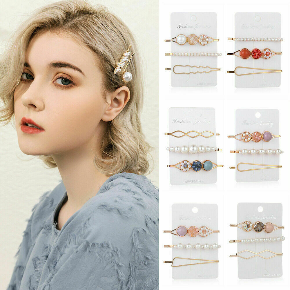 Women/'s Girls Pearl Hair Clip Gold Hairpin Slide Grips Barrette Hair Accessories