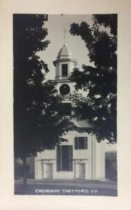 RPPC-Church-At-Thetford-Vermont-ca-1940s-Vintage-Real-Photo-Postcard