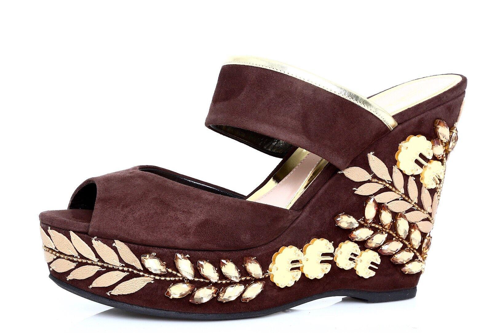 Sebastian Milano Milano Milano comascio Slip On Sandalia De Cuña Gamuza Marrón Mujeres Talla 38 4189  mejor moda