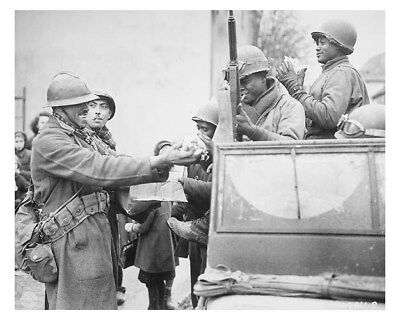 WW II Silver Halide Photo African American GI/'s Receive Candy From French Troops