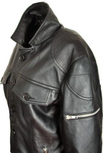 Lederhemd-Veste en cuir de Super Soft vraiment-Cuir Lammnappa en noir pour homme
