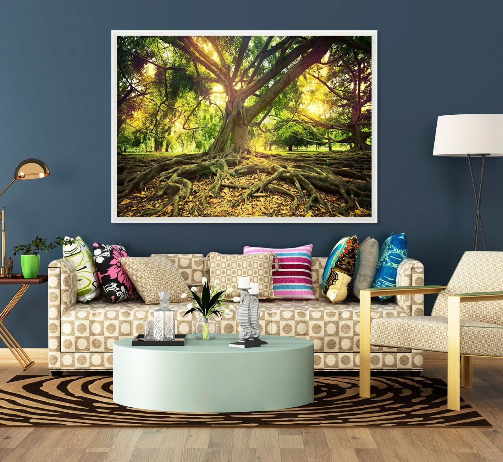 3D Sun Tree 675 Fake Framed Poster Home Decor Print Painting Unique Art Summer