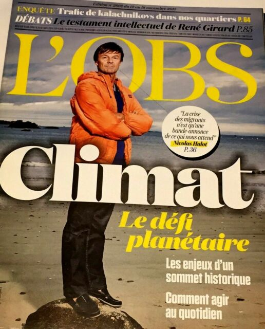 L'OBS 12/11/2015*HULOT*BLAIR EXCUSE GUERRE IRAK*AFRICAN DREAM*PAPE*KALACH TRAFIC