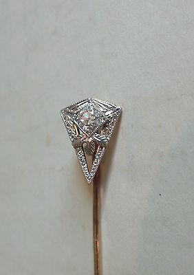 Art Déco Vintage 14k Weiss Gold Anstecknadel,filigraner Dreieck With .20 Karat Um Das KöRpergewicht Zu Reduzieren Und Das Leben Zu VerläNgern