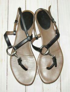 Gucci-Black-Leather-Horsebit-Strappy-Sandals-Size-39