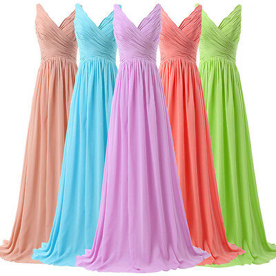 SEXY Long V-Neck Evening Formal Chiffon Prom Party Bridesmaid Dresses PLUS SIZE