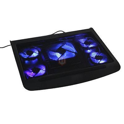 """17"""" Laptop USB LED 5 Fan Notebook Cooling Cooler Adjustable Stand Pad Black CA"""