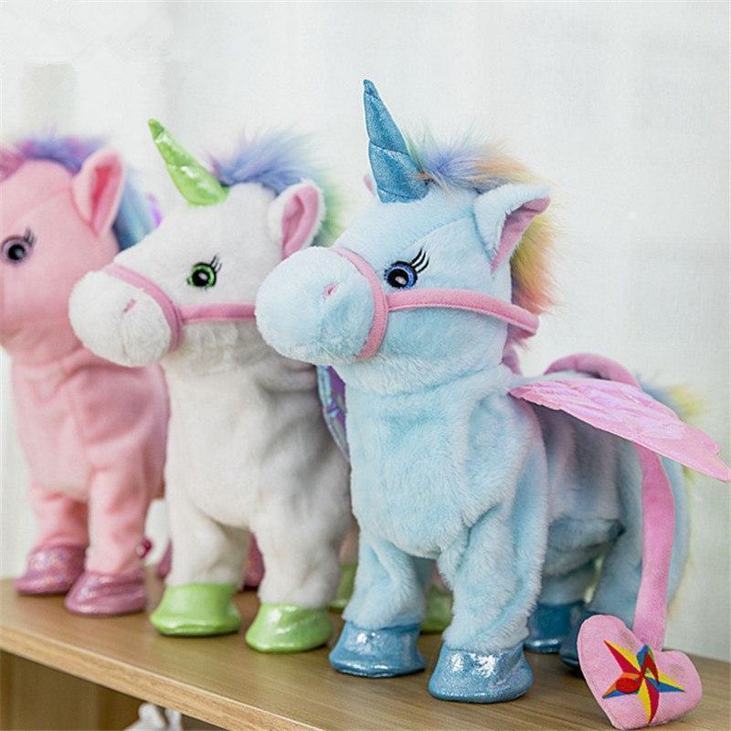 LED Light Magic Walking /& Singing Unicorn Plush Toy Children Kids Christmas Gift
