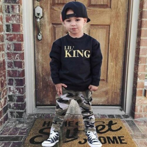 Enfant Bébé Garçon lettre T Shirt Tops camouflage pantalon Tenues Vêtements Set