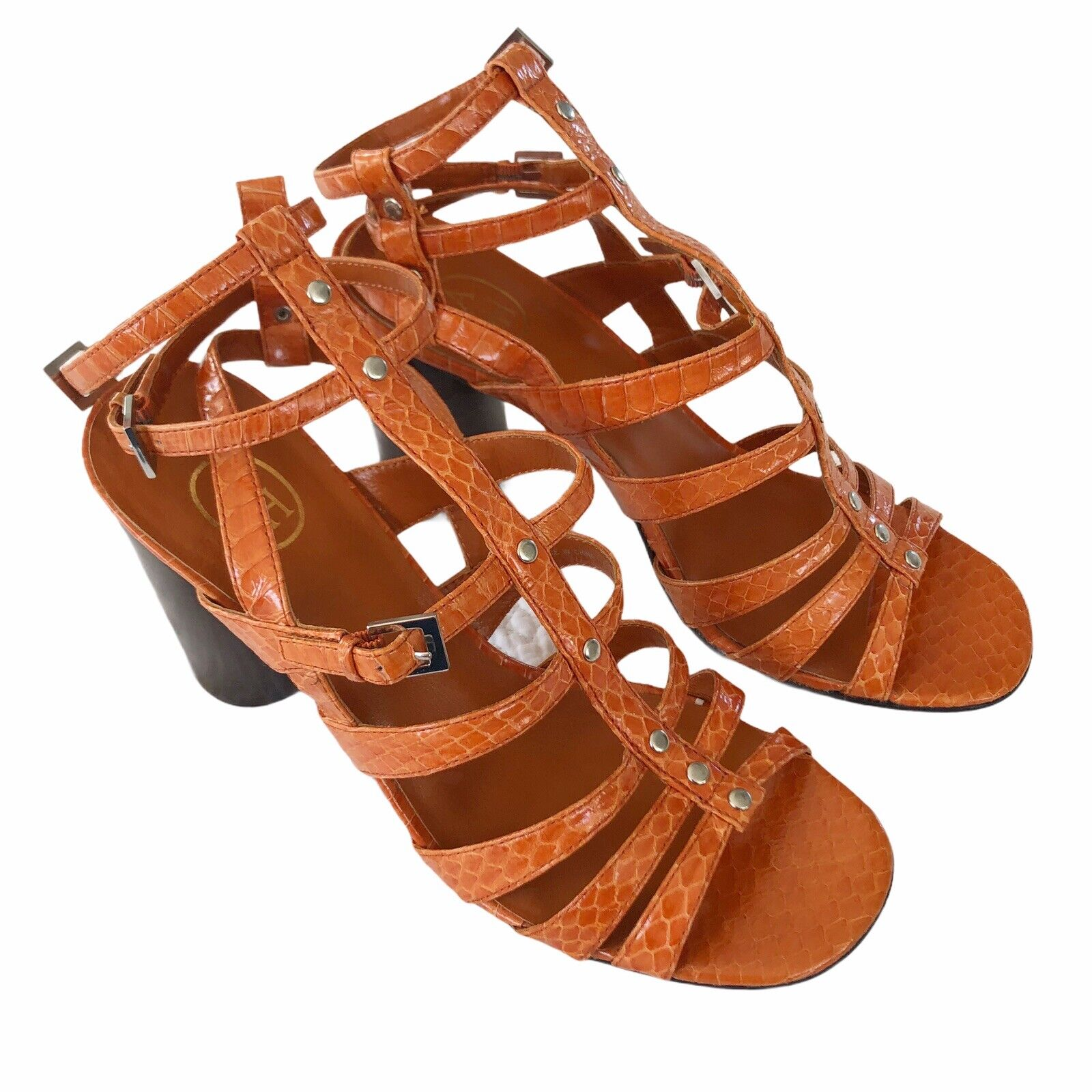 Ash Orange Patterned Leather Caged Strappy High Heel Sandals Size 39 NWOB