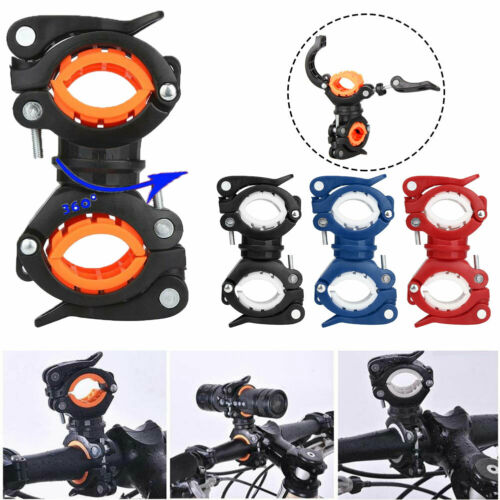 Cycling Bike Bicycle Front Flash Light Torch 360° Rotation Mount Holder Durable