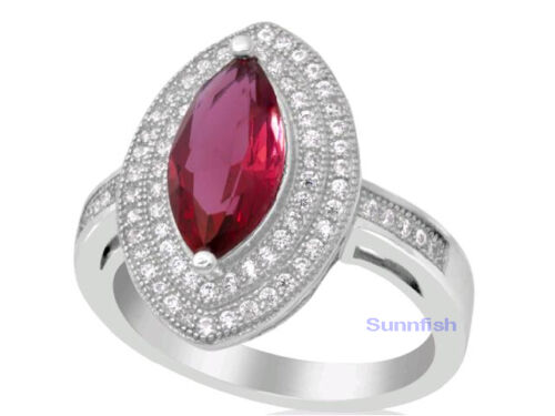 Marquise 925 Sterling Silver Micro Pave Simulated Sapphire Emerald Ruby cz RING