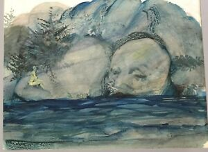 Charles-Billich-Original-Surrealist-Watercolour-Painting-Nymph-On-Shoreline