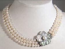 3 Reihen 6-7mm weiße Akoya Perlenkette 43-46-49cm