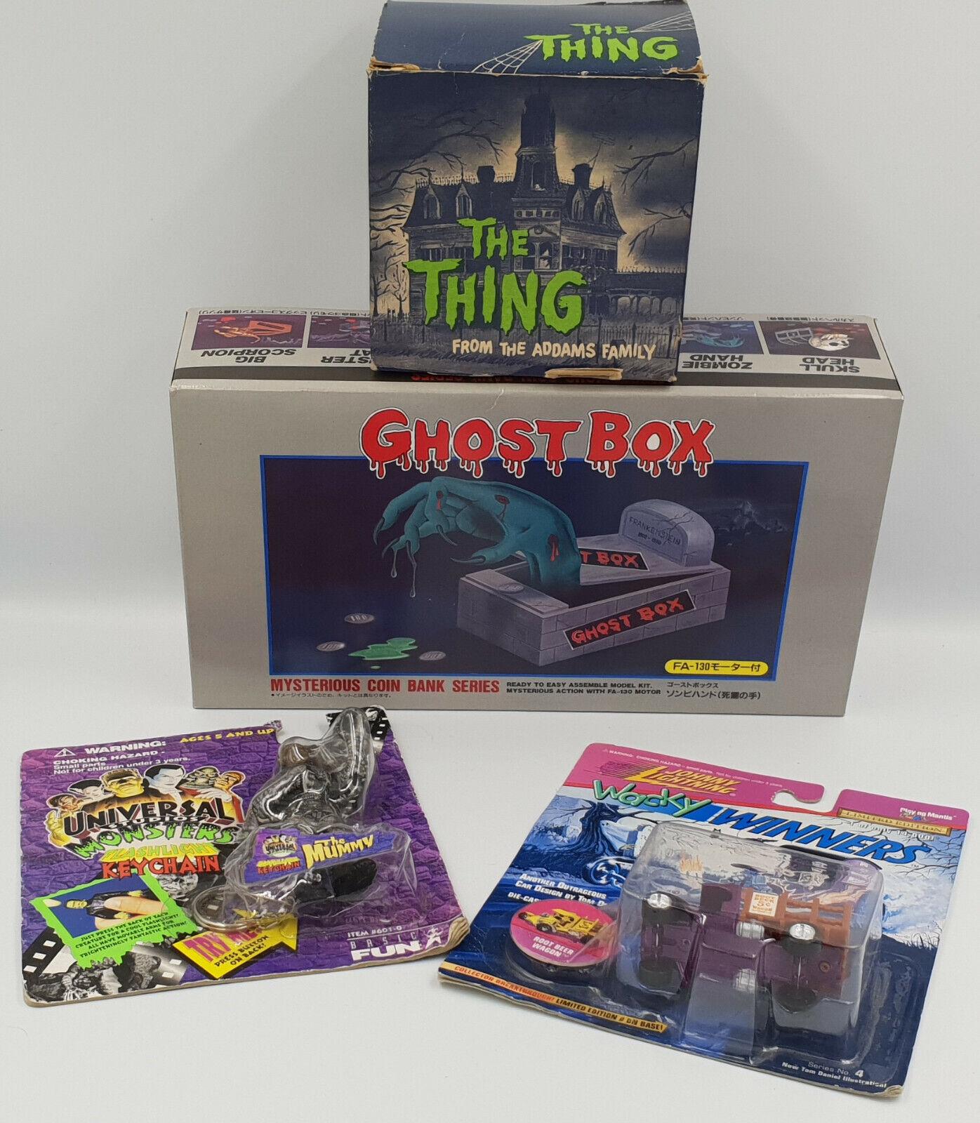 Horror  Kit de caja fantasma, momia KEYRING, COCHE & Caja De Dinegro Vintage Familia Adams