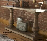 Salvaged Driftwood Style Wood Sofa Console Table Entry Coastal Beach House
