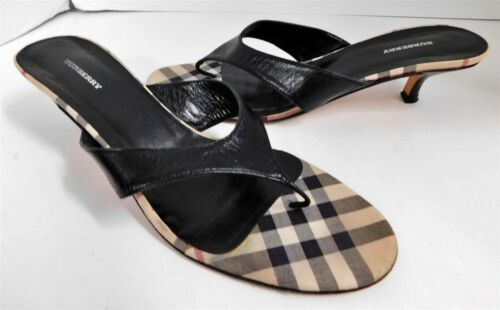 Burberry Black Leather Nova Kitten Heel Slides 39