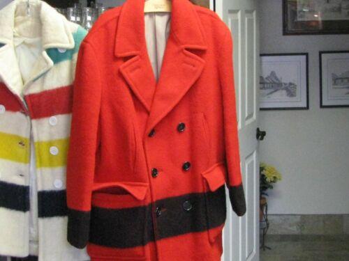 VINTAGE HUDSON BAY 100% WOOL MEN'S RED/BLACK COAT