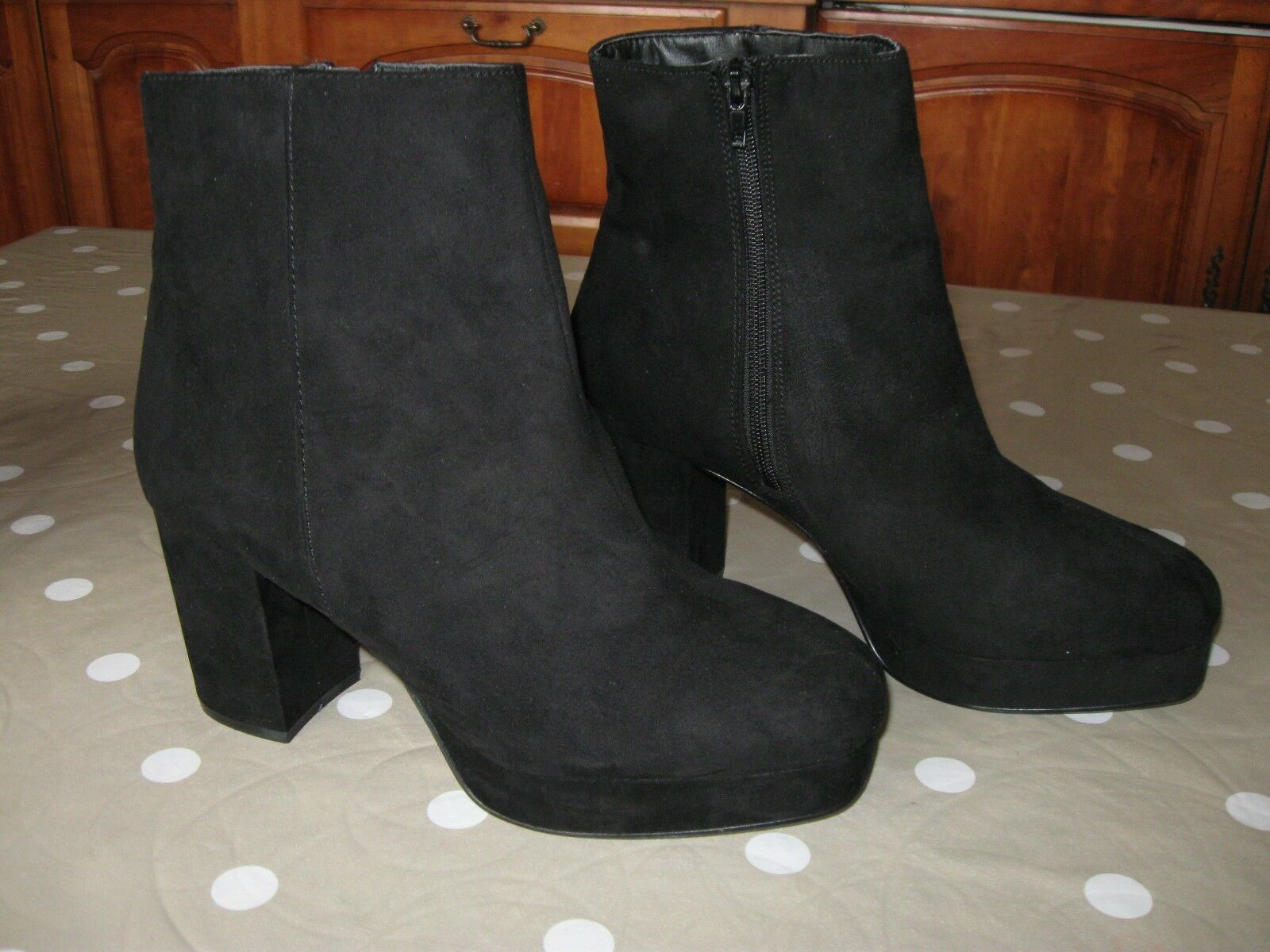 UK Size 8 Black Suede Effect Ankle Boots Brand New Without Box