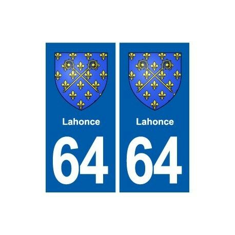 64 Lahonce blason autocollant plaque stickers ville droits