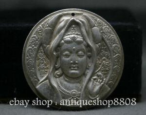 48MM-Old-Chinese-Miao-Silver-Boddhisattva-Guan-Yin-Goddess-Amulet-Pendant-BUddha
