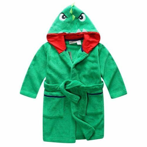 Boys PJS Size 0-2 Winter Fleece Dressing Gown Robe Green Dinosaur