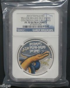 2013-Tuvalu-1-oz-999-Silver-Yellow-Bellied-Sea-Snake-Coin-NGC-PF-70-UC-ER-Perth