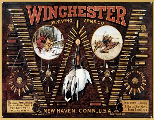 Winchester TIN SIGN Bullet Chart hunting Gun ammo Display  vintage look metal